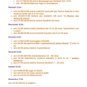 programma settimanale 1/10 –  7/10